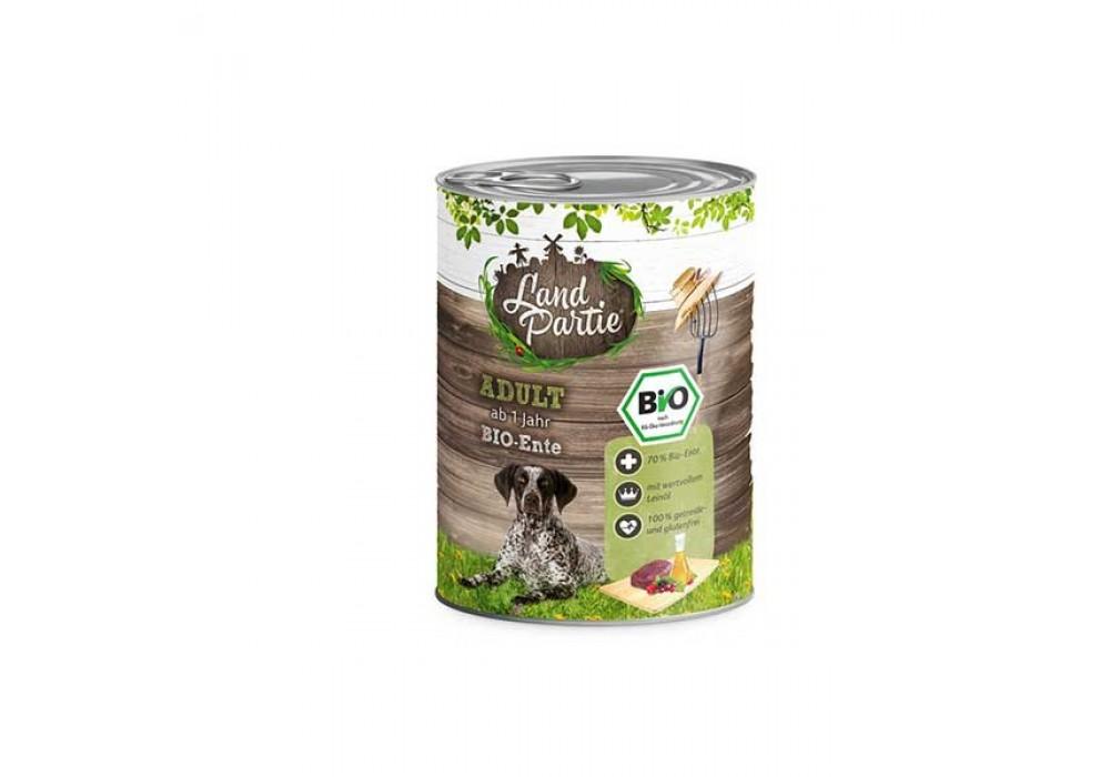 LandPartie Bio Hund Adult 800g Dose mit Bio-Ente und Kürbis (812186)