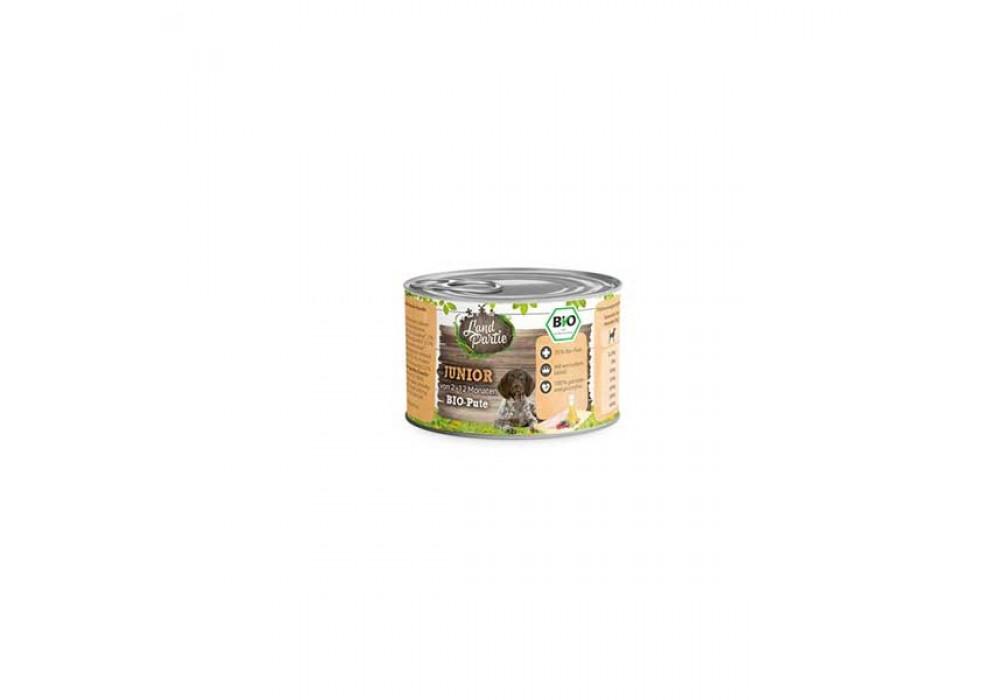 LandPartie Bio Hund Junior 200g Dose mit Bio-Pute und Mangold (812176)