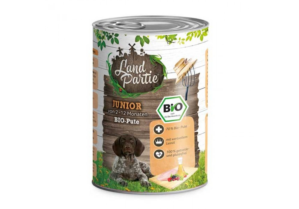 LandPartie Bio Hund Junior 400g Dose mit Bio-Pute und Mangold (812180)