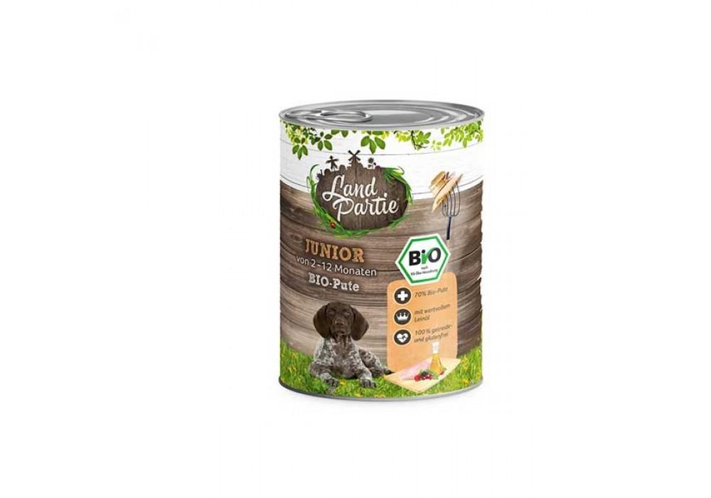 LandPartie Bio Hund Junior 800g Dose mit Bio-Pute und Mangold (812184)