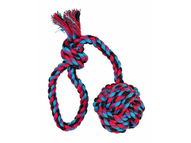 TRIXIE Denta Fun Spieltau mit eingeflochtenem Ball ø5,5cm 30 cm