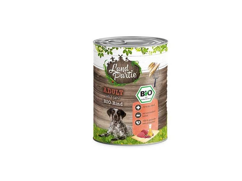 LandPartie Bio Hund Adult 800g Dose mit Bio-Rind und Zucchini (812187)