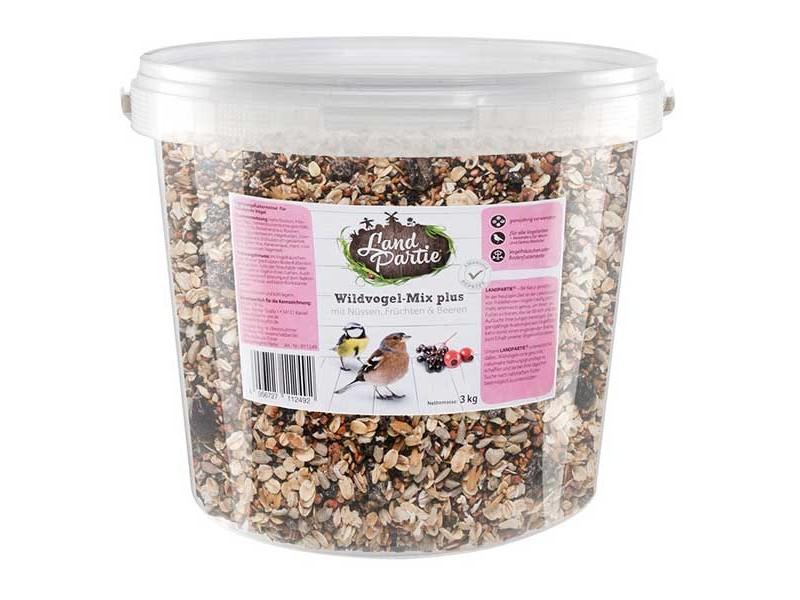 LandPartie Wildvogelfutter 3kg Wildvogelmix-Plus mit Nüssen, Früchten und Beeren (811249)