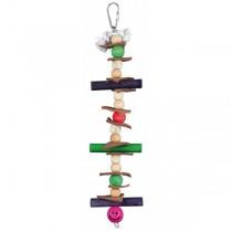 Holzspielzeug mit Tau, Leder und Perlen