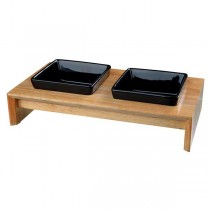 TRIXIE Napf-Set Keramik/Holz 2 × 0,4 l/13 cm