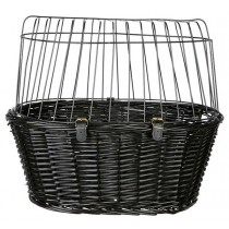 TRIXIE Fahrradkorb mit Gitter 50cm schwarz Katze