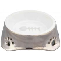 TRIXIE Keramiknapf Katze 0,15 l/12 cm silber weiß (24773)