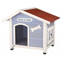 natura Hundehütte mit Satteldach DOG`S INN hellblau/weiß