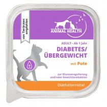 Animal Health Katze Adult 100g Diabetes/Übergewicht mit Pute