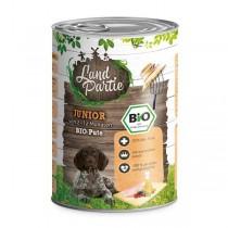 LandPartie Bio Hund Junior 400g Dose mit Bio-Pute und Mangold