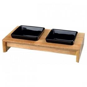 TRIXIE Napf-Set Keramik/Holz 2 × 0,2 l/10 cm (24820)