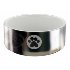 TRIXIE Keramiknapf silber/weiß Hund