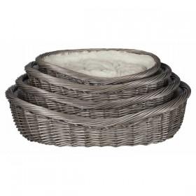 TRIXIE Korb Weide mit Bezug und Kissen grau
