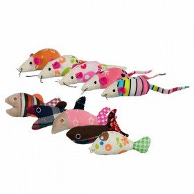 TRIXIE Sortiment Mäuse und Fische, Plüsch Katzenspielzeug (40763)