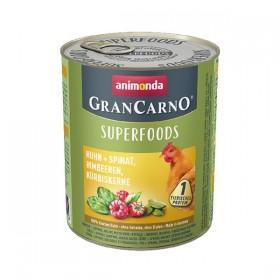 animonda GranCarno Superfoods 800g Dose - Huhn + Spinat, Himbeeren, Kürbiskerne (82439)