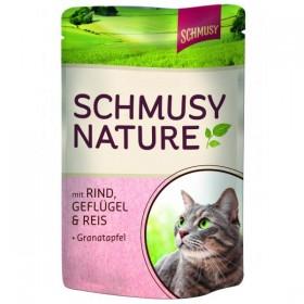 Schmusy Nature 100g Pouch Rind, Geflügel&Reis + Granatapfel