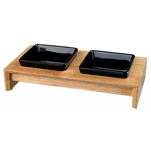 TRIXIE Napf-Set Keramik/Holz 2 × 0,2 l/10 cm