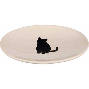 Keramiknapf Katze 18x15 cm weiß