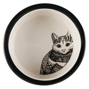 TRIXIE Keramiknapf Zentangle 0,3 l/ø 12 cm schwarz/weiß